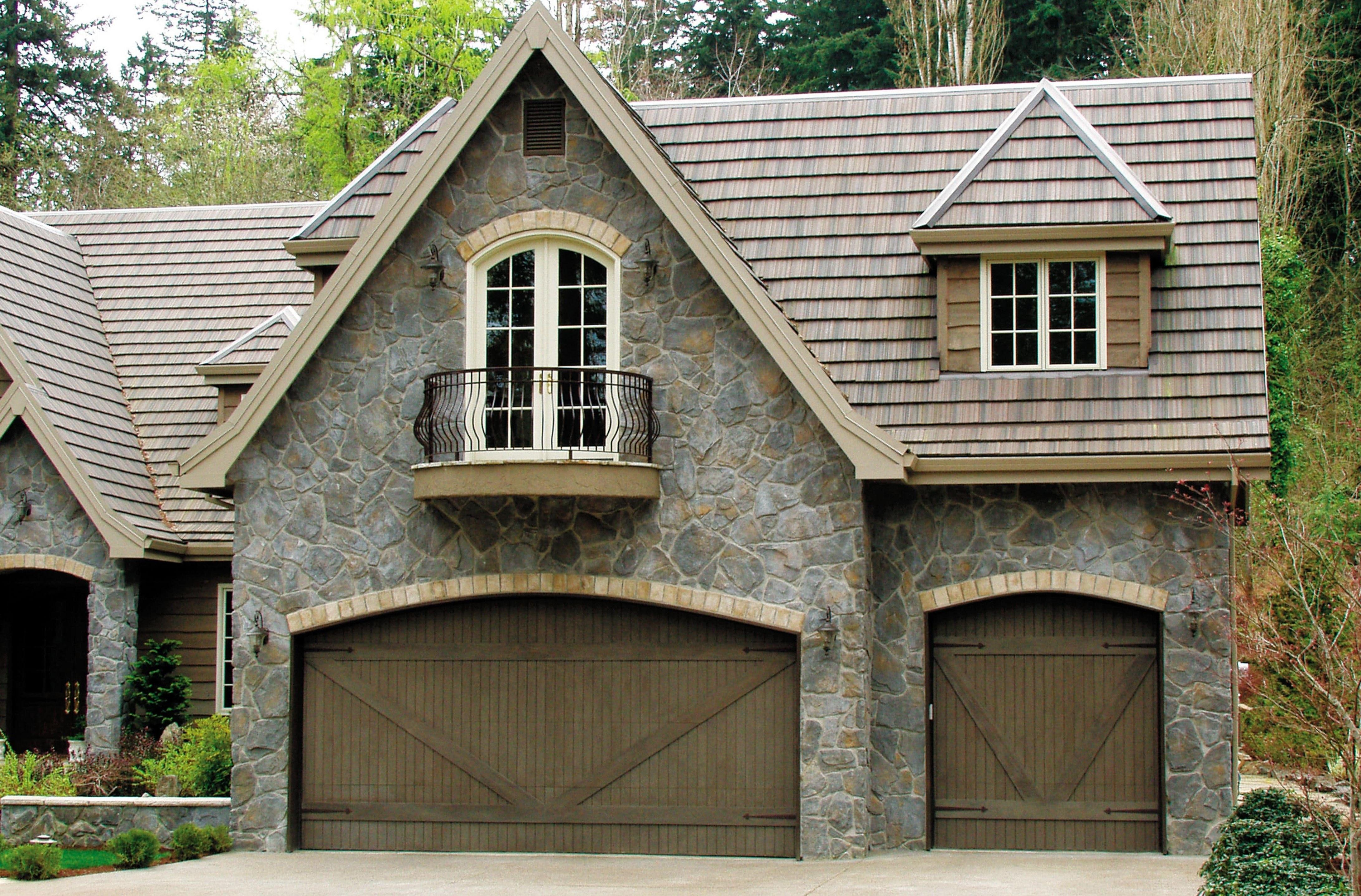 elegant high custom wood double door garage