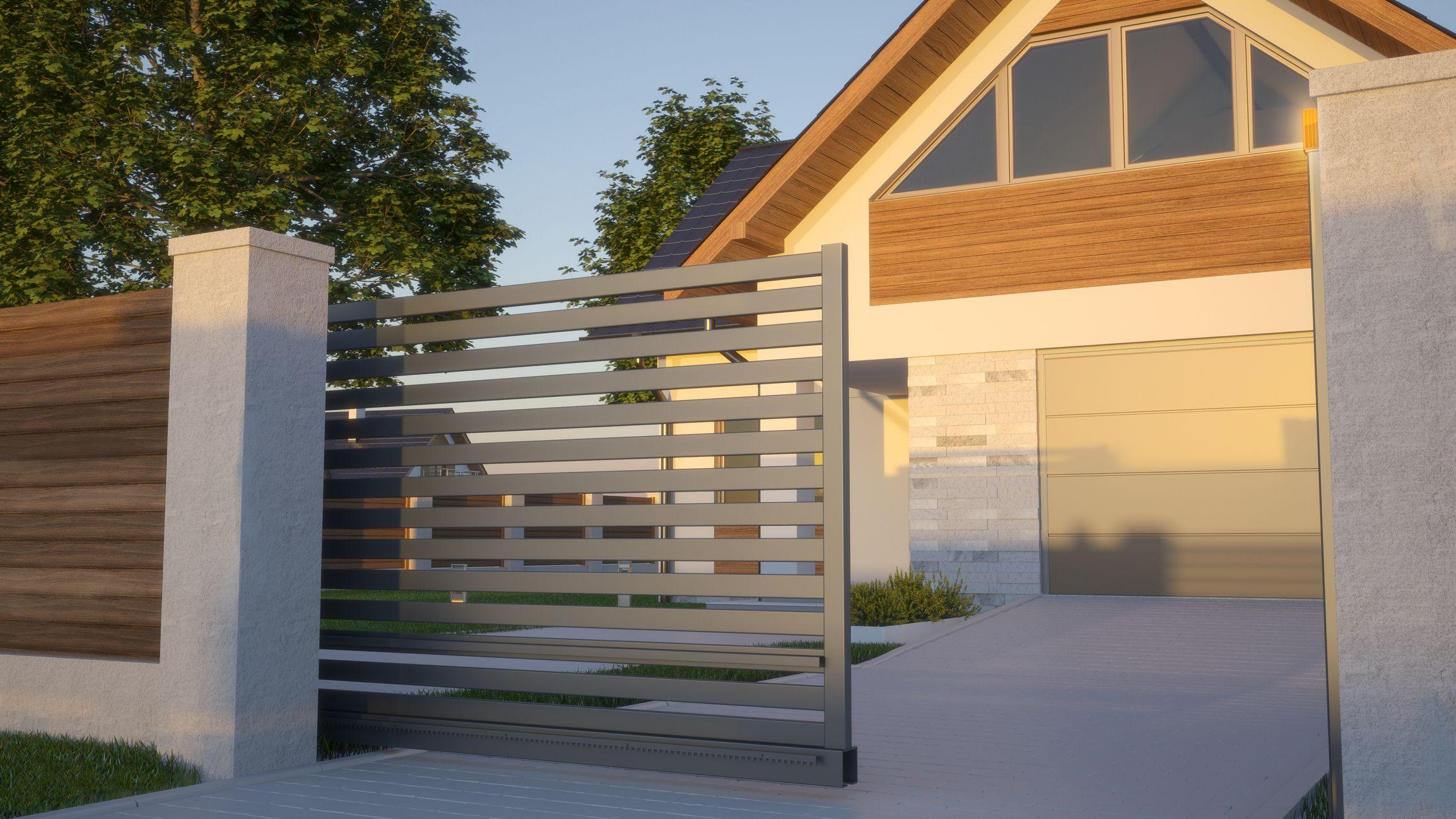 modern custom automatic slide gate