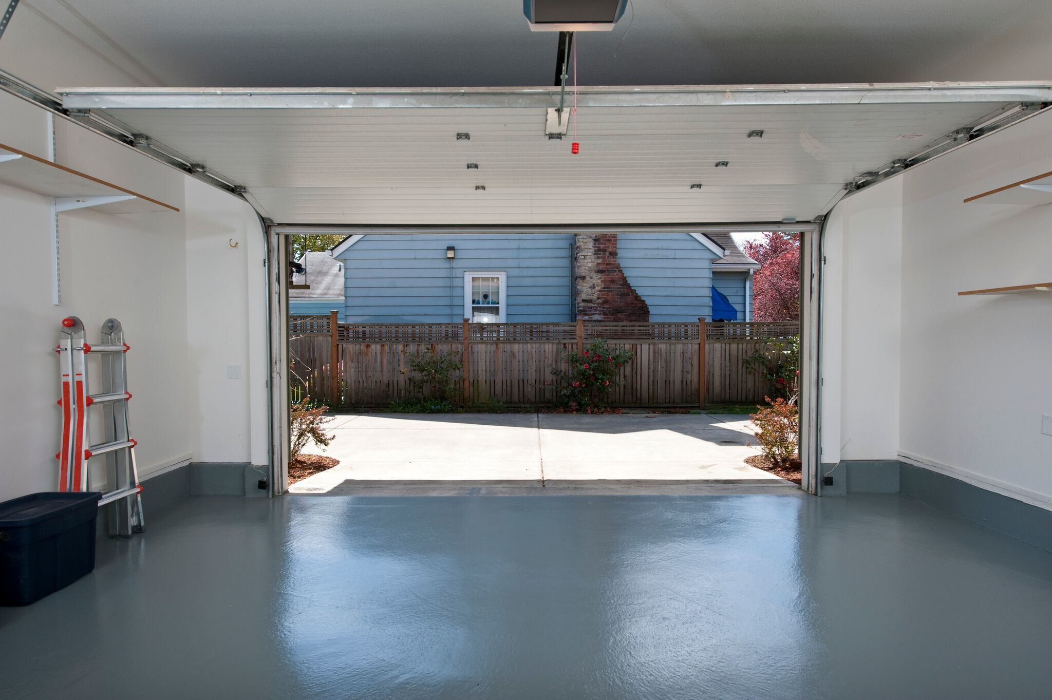 concrete floor in a clean garage