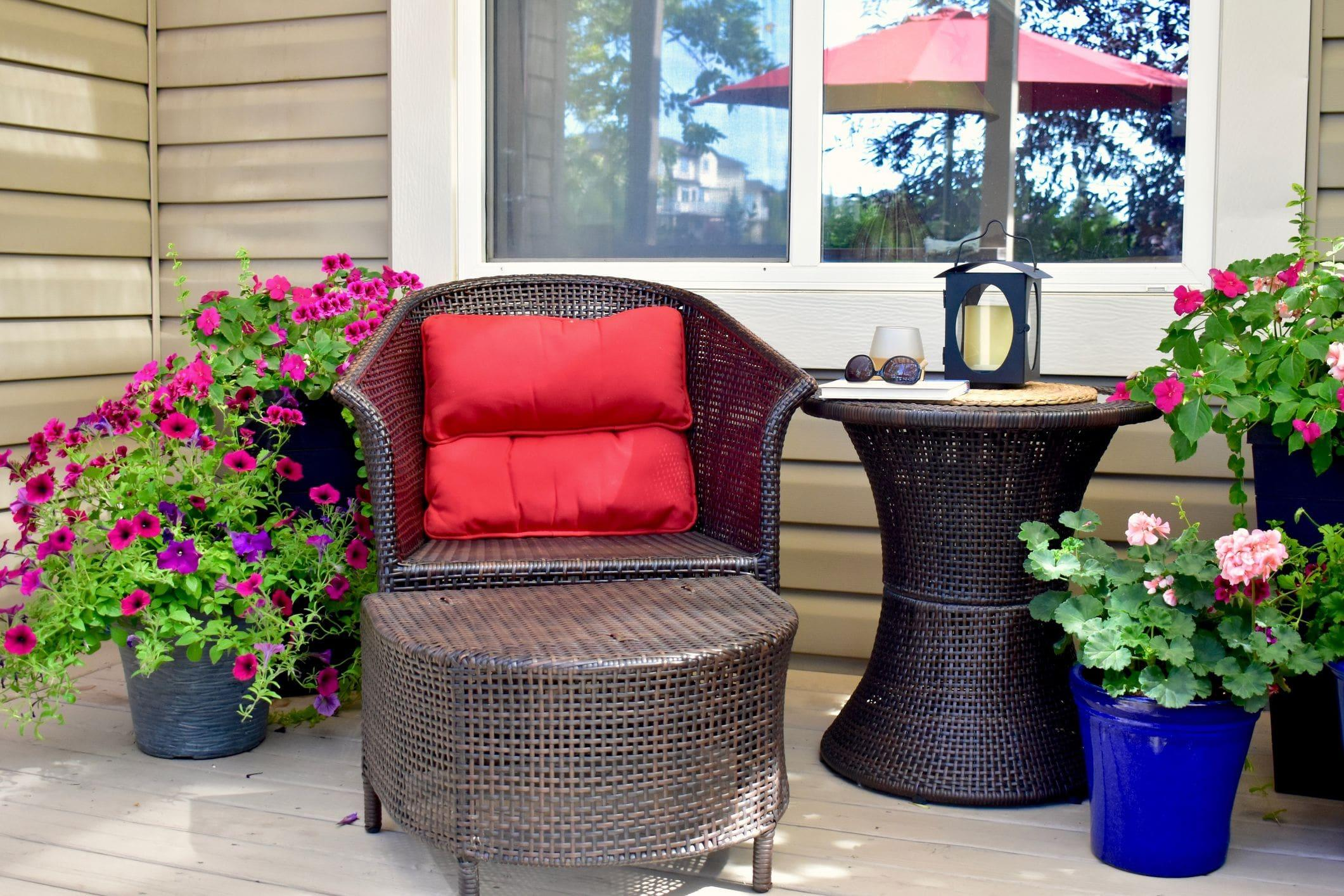 front porch home accessories and plants