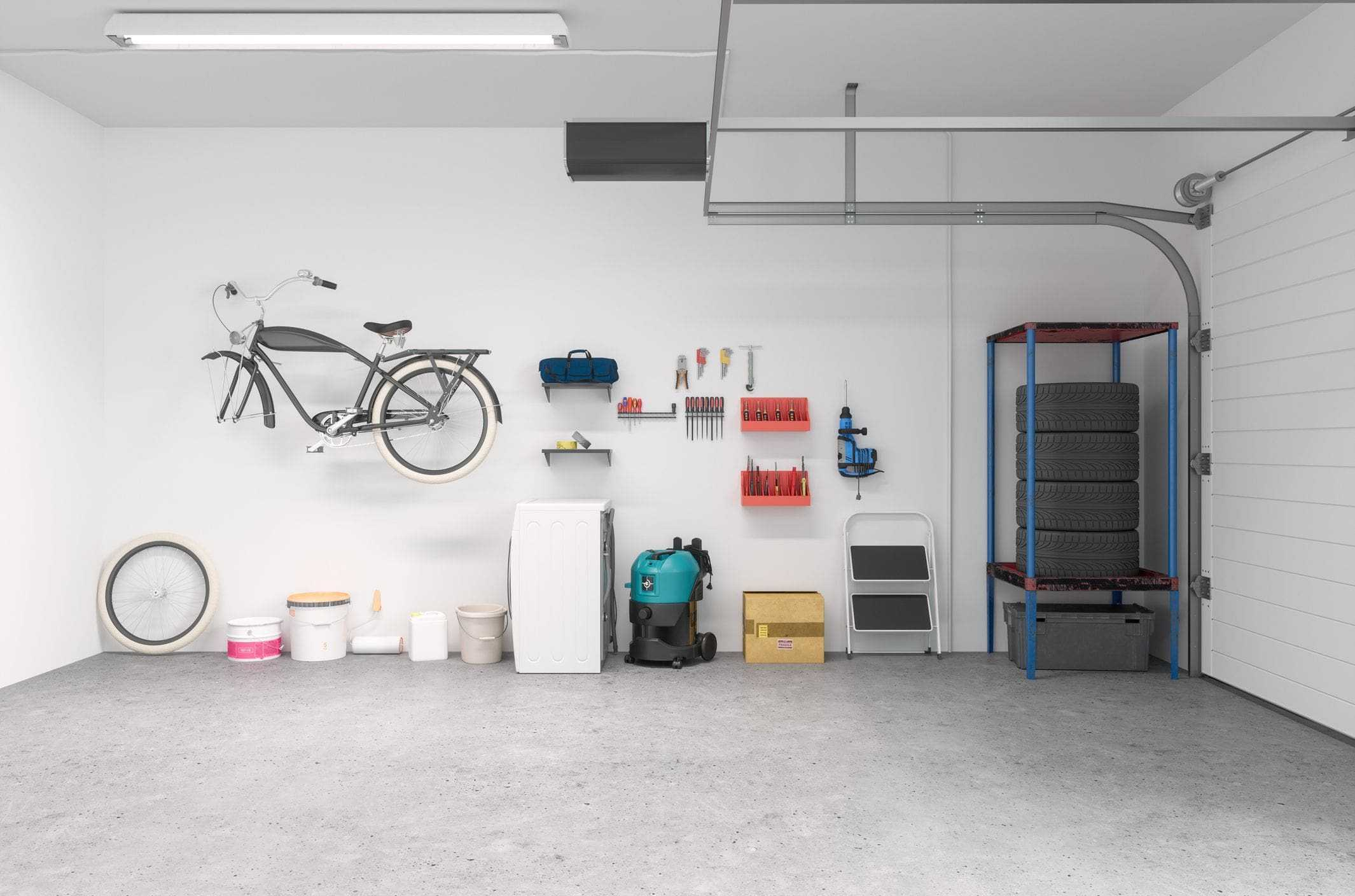 interior of garage with tracks and opener