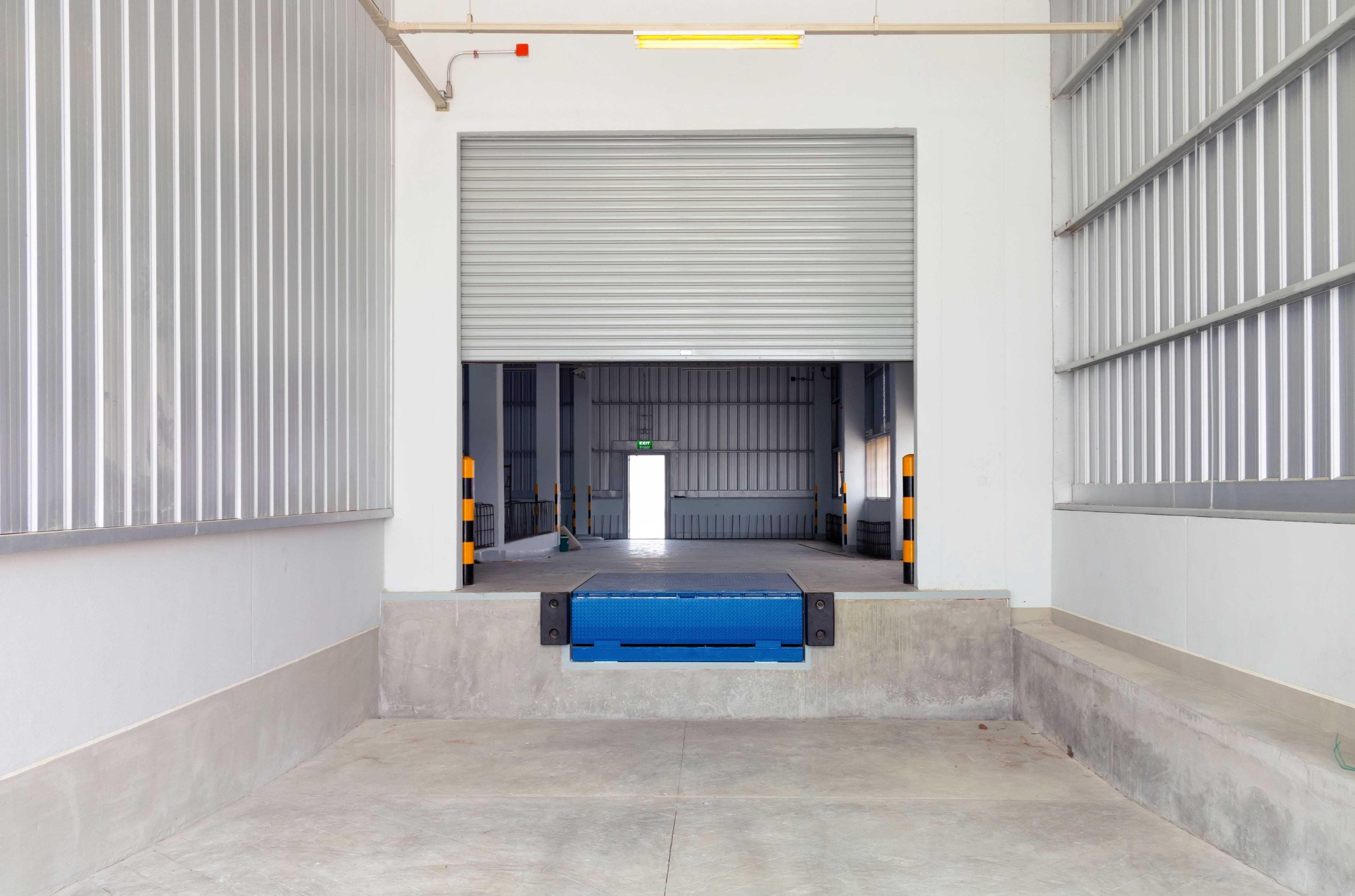 interior of loading dock with leveler and steel door