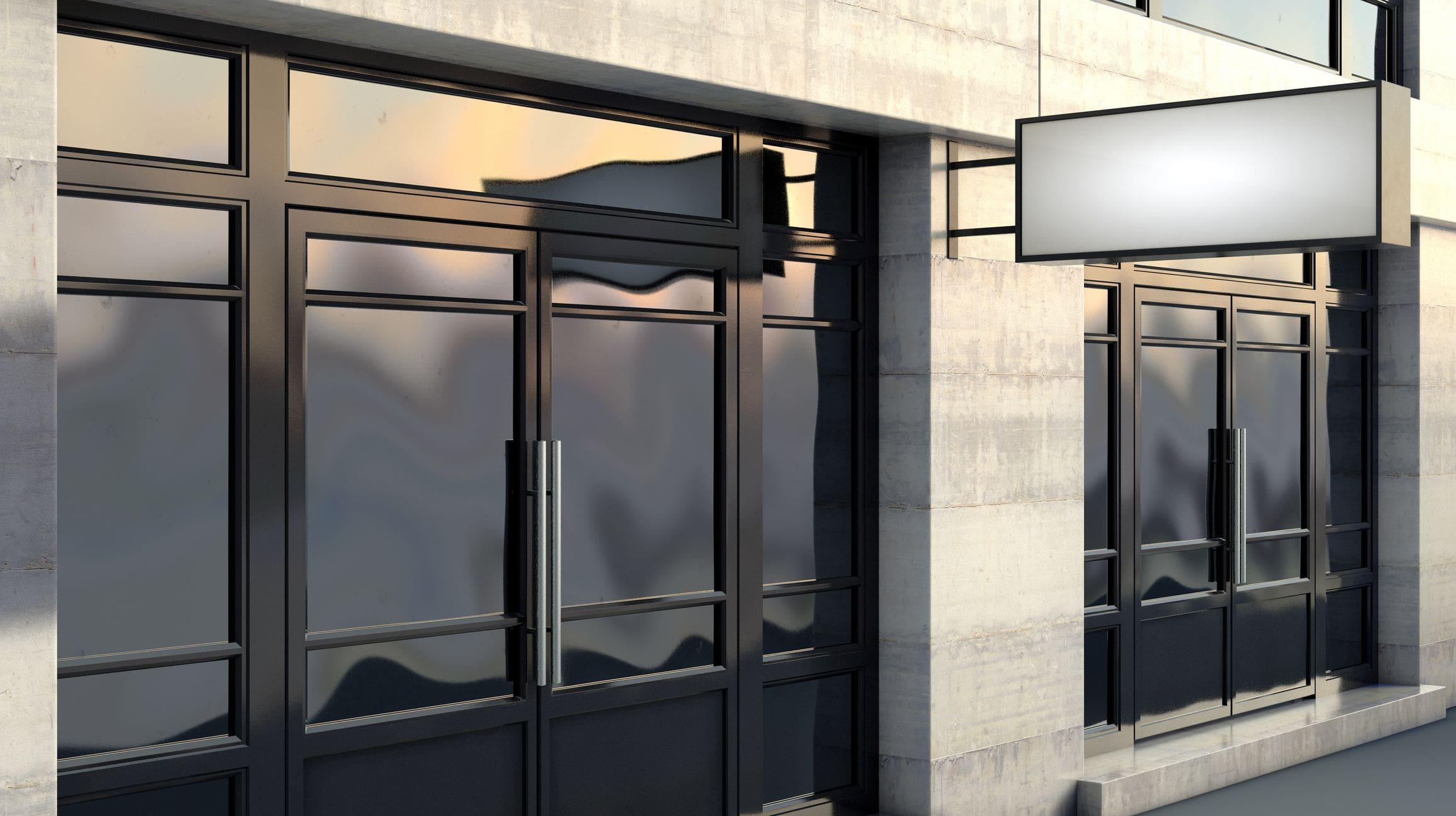 modern storefront with steel and glass doors