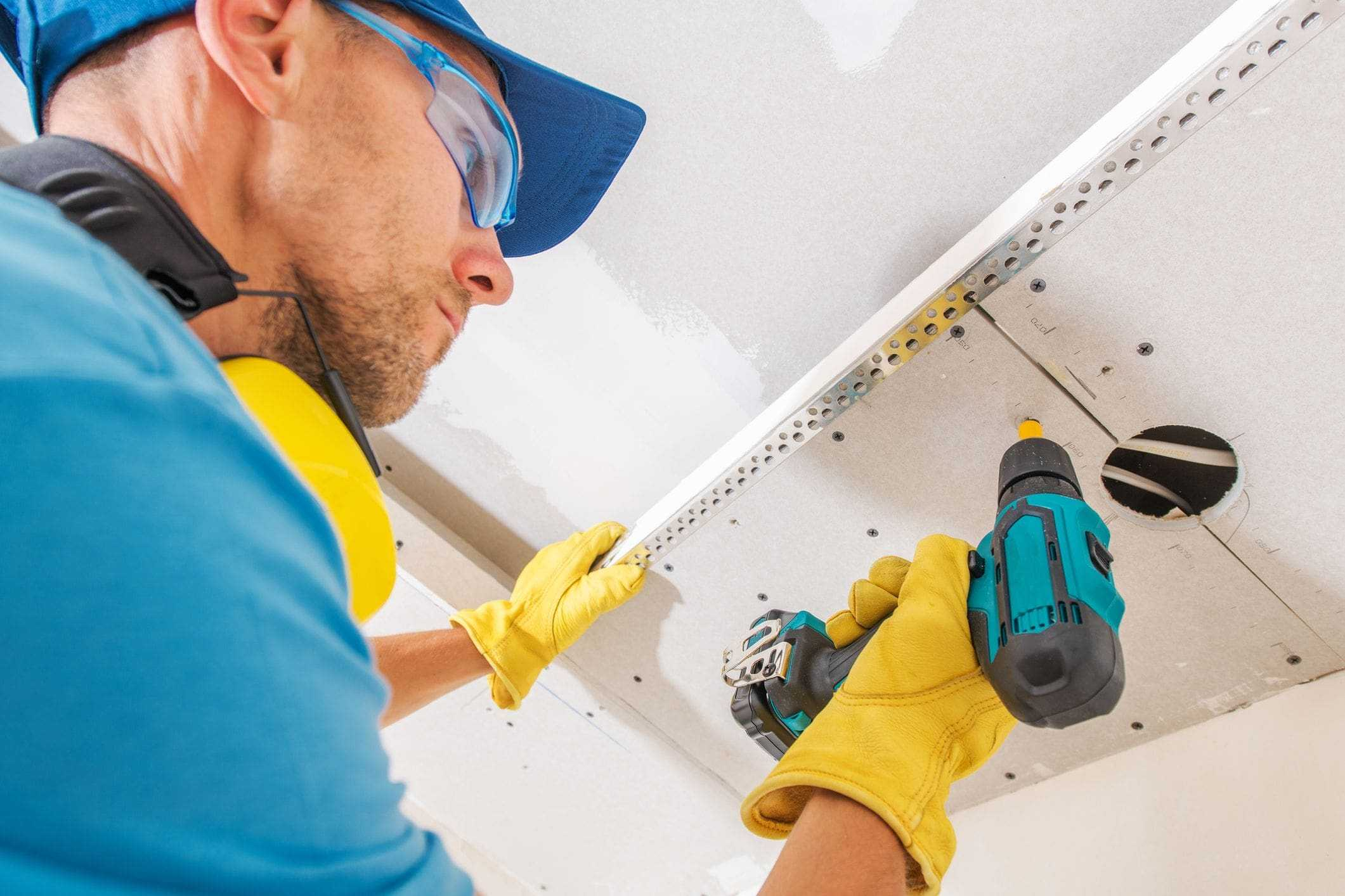 installing ceiling-mounted shelving inside garage