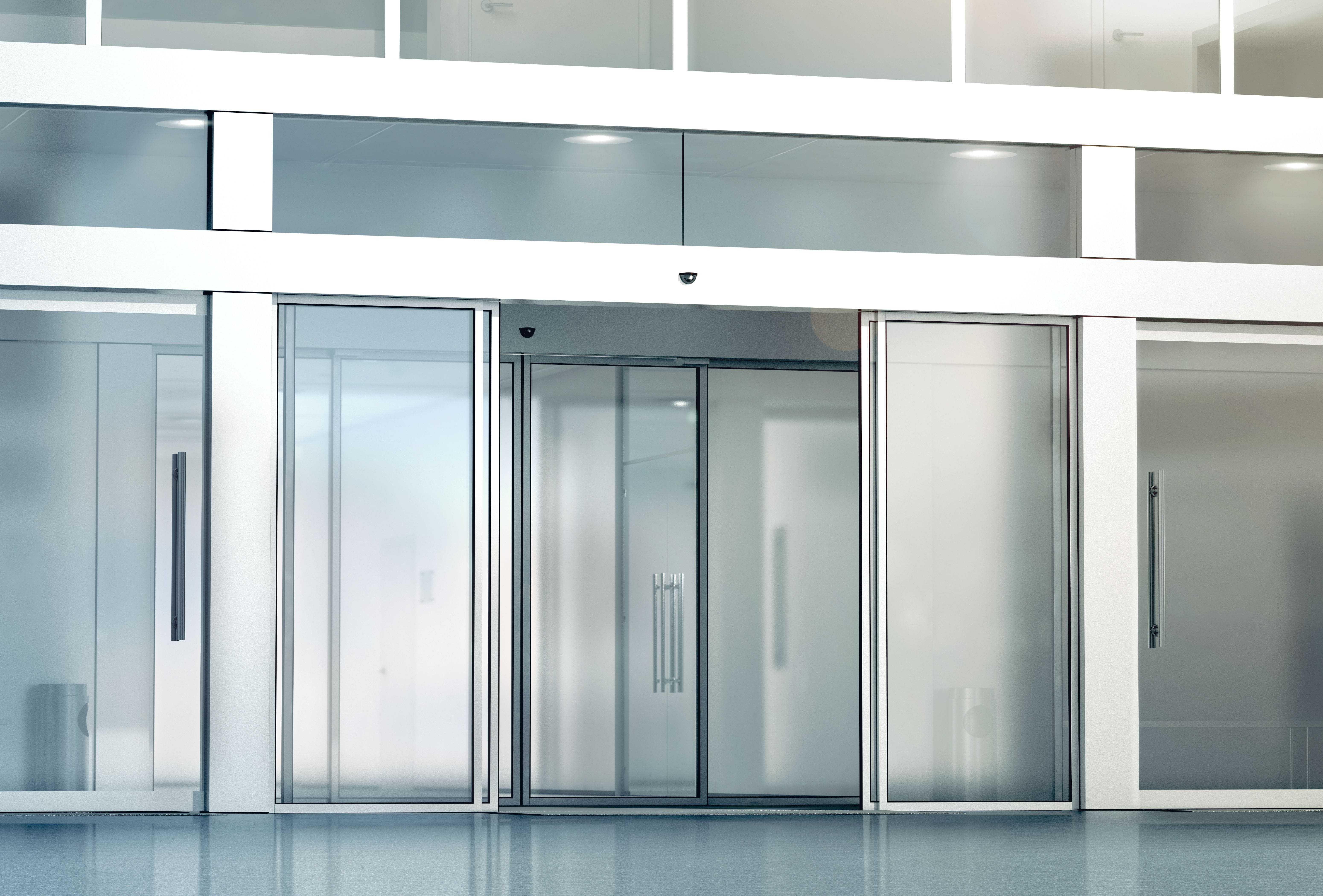 glass automatic pedestrian doors