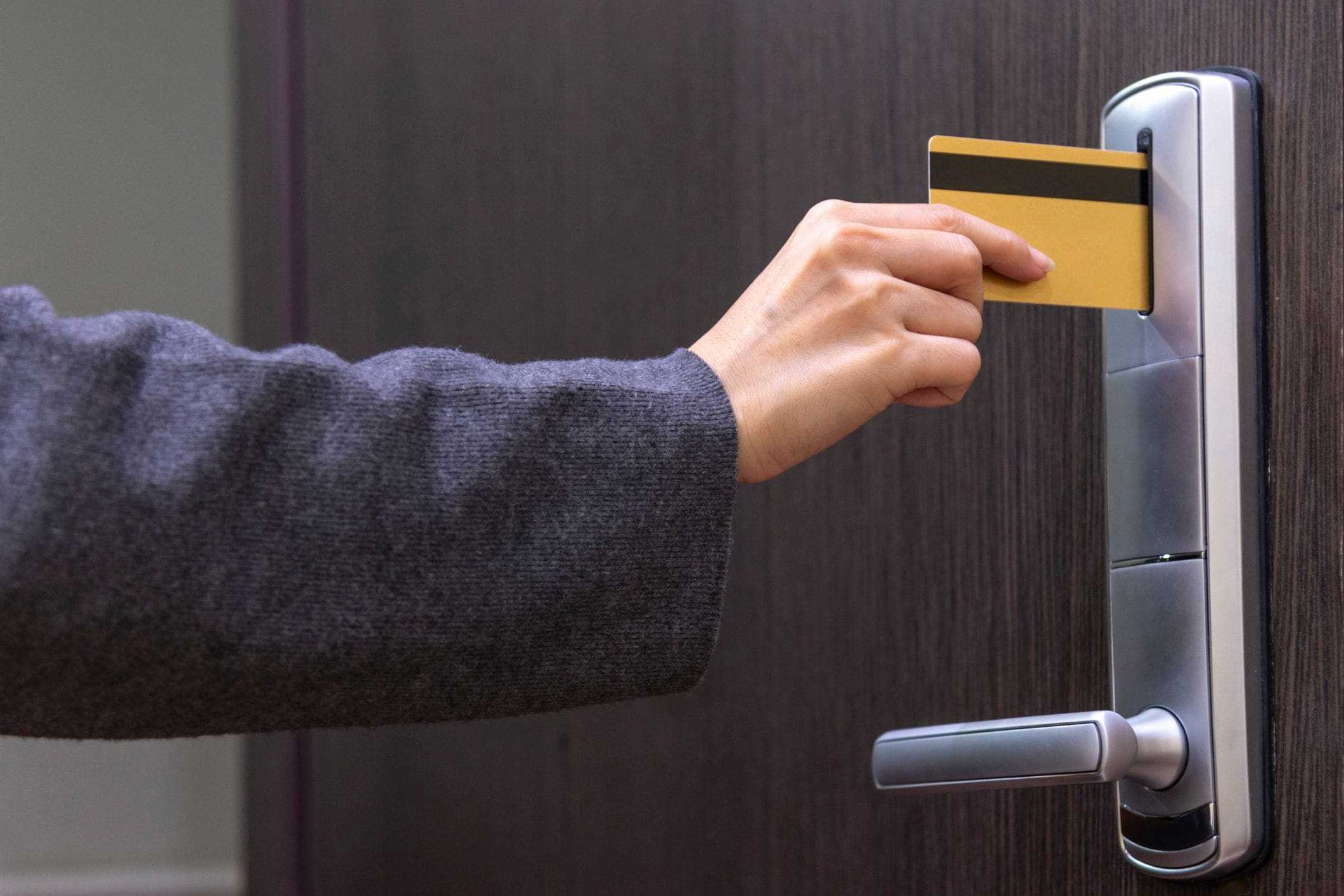 electric hardware for secure entry swipe card