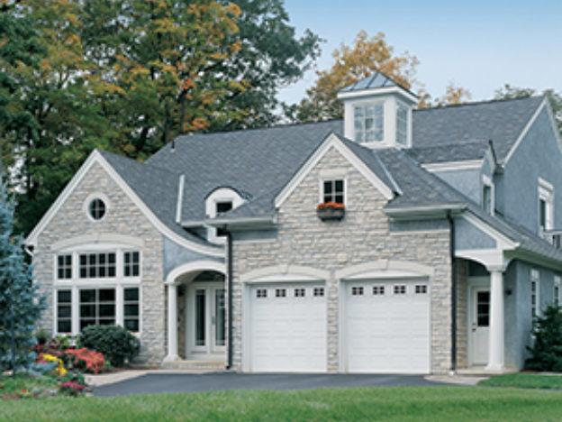 Energy efficient white garage door