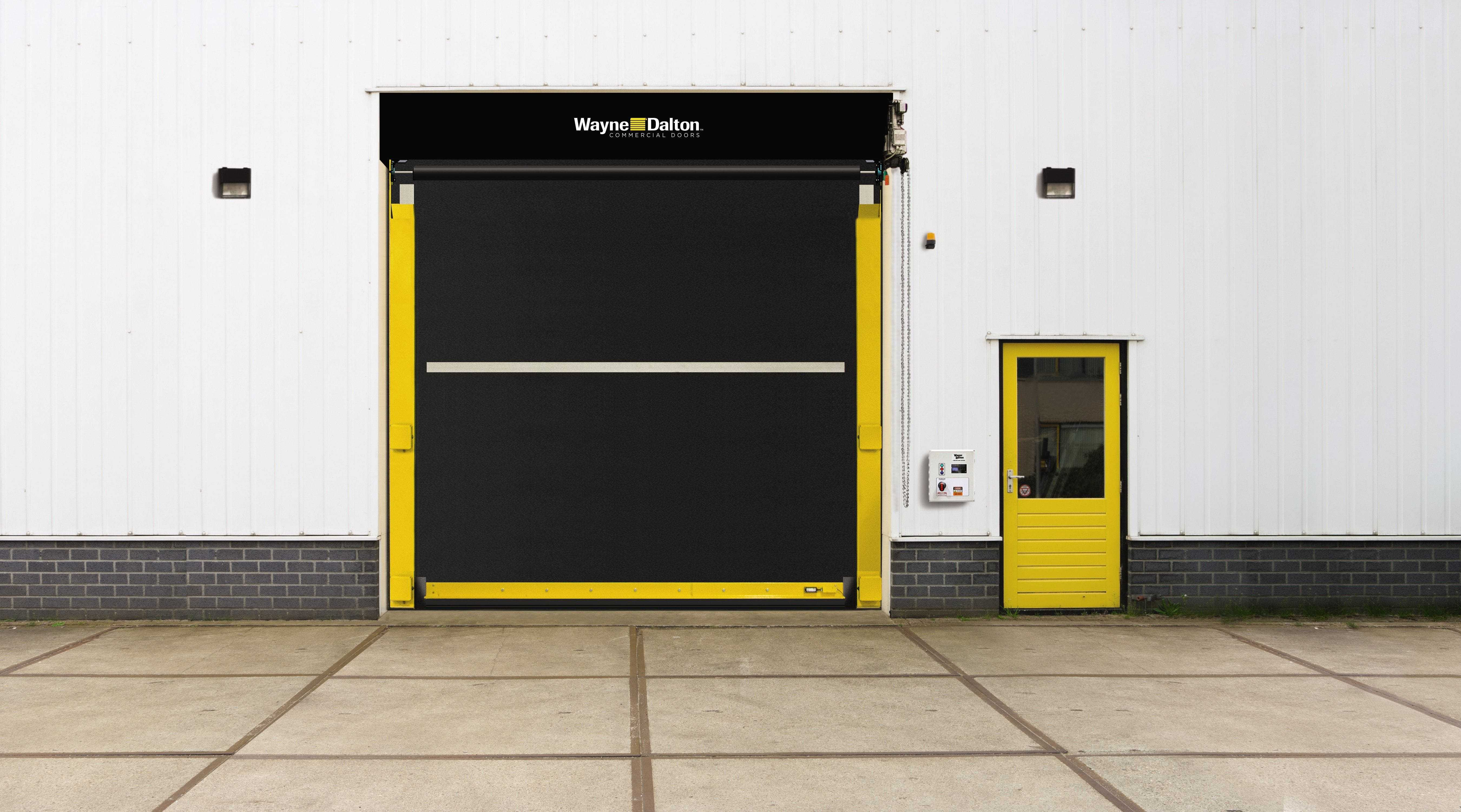 pedestrian doors wayne dalton yellow and black