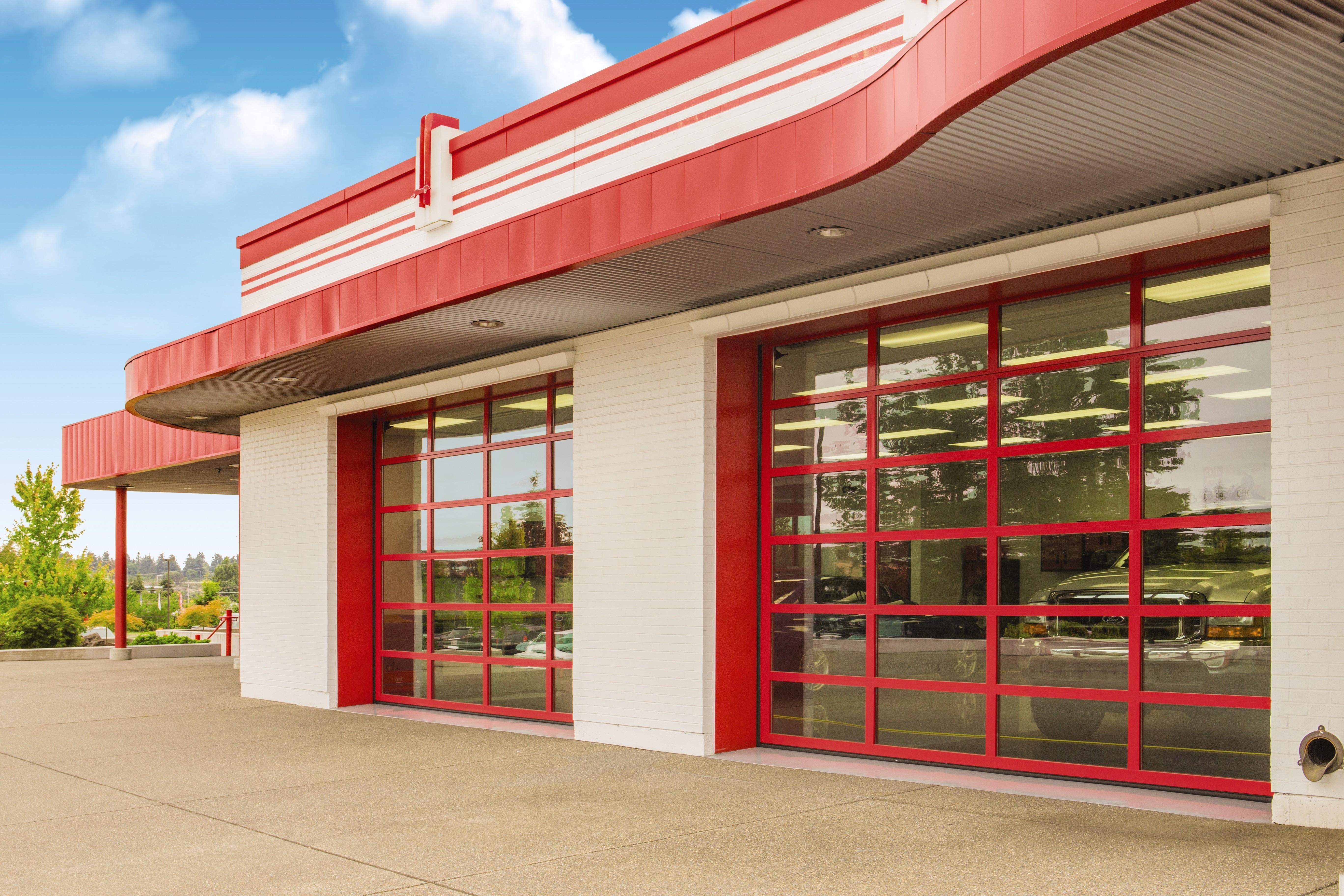 Red Powder Coat commercial door